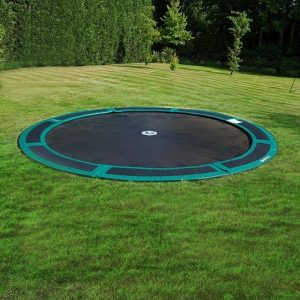 12 foot in ground trampoline with green pad